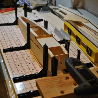 Laser level lined up with center marks,