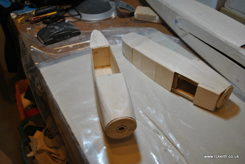 Mosquito nacelles one sanded and one glued up read for sanding
