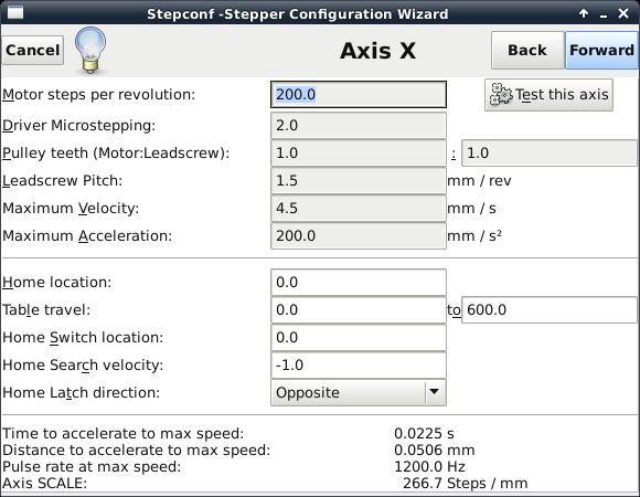 LinuxCNC stepconf X axis foam cutter