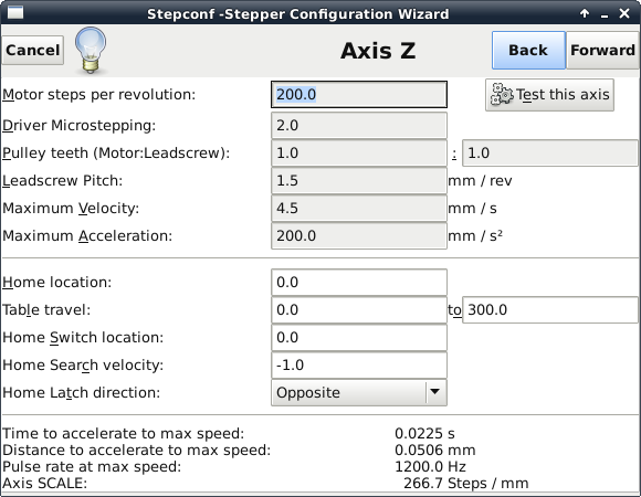 LinuxCNC stepconf z axis foam cutter